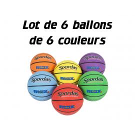 Lot de 6 ballons de Basket Spordas 6 couleurs
